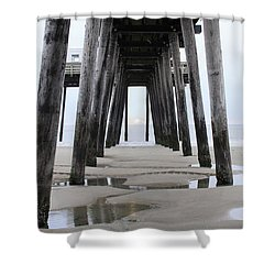 Shower Curtain featuring the digital art Under The Pier by Sharon Batdorf