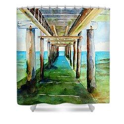 Under The Playa Paraiso Pier Shower Curtain