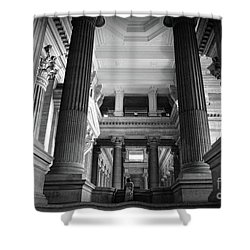 Shower Curtain featuring the photograph Under The Scaffolding Of The Palace Of Justice - Brussels by RicardMN Photography