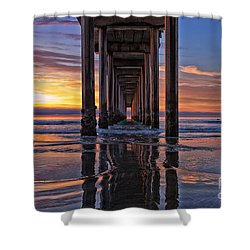 Under The Scripps Pier Shower Curtain by Sam Antonio Photography