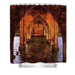 Shower Curtain featuring the photograph Under The Siuslaw River Bridge by Thom Zehrfeld