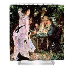Under The Trees Of The Moulin De La Galette Shower Curtain by Pierre Auguste Renoir