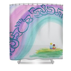 Under The Wings Of The Shechina Shower Curtain