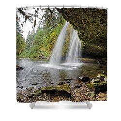 Under Upper Butte Creek Falls In Autumn Shower Curtain by David Gn