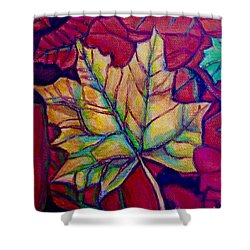 Shower Curtain featuring the painting Understudy Of A Turning Maple Leaf In The Fall by Kimberlee Baxter