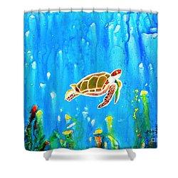 Underwater Magic 5-happy Turtle Shower Curtain