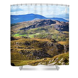 Shower Curtain featuring the photograph Undulating Green, Purple And Yellow Rocky Landscape In  Ireland by Semmick Photo