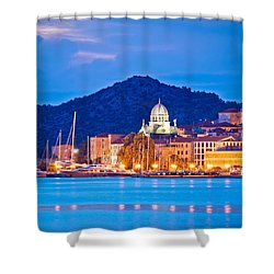 Unesco Town Of Sibenik Blue Hour View Shower Curtain
