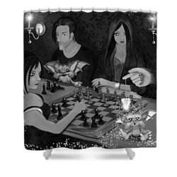 Unexpected Company - Black And White Fantasy Art Shower Curtain