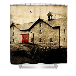 Uni Barn Shower Curtain by Julie Hamilton