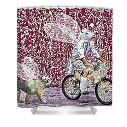 Unicorn And Doggie Fairies Shower Curtain