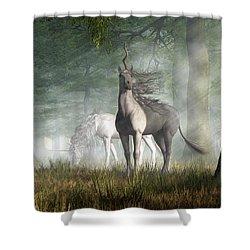 Unicorn Shower Curtain by Daniel Eskridge