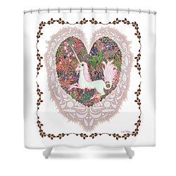 Unicorn In A Pink Heart Shower Curtain