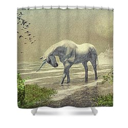 Unicorn Moon Shower Curtain by Bob Orsillo