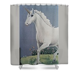 Unicorn Roaming The Grass And Flowers Shower Curtain