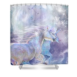 Shower Curtain featuring the mixed media Unicorn Soulmates by Carol Cavalaris