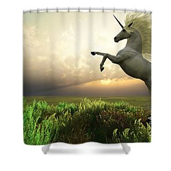 Unicorn Stag Shower Curtain by Corey Ford