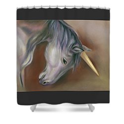 Shower Curtain featuring the pastel Unicorn With A Golden Horn by MM Anderson