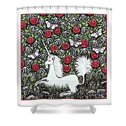 Unicorn With Red Roses And Butterflies Shower Curtain