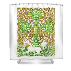 Unicorn With Shamrock Shower Curtain