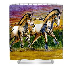 Unicorns In Sunset Shower Curtain by Melissa A Benson
