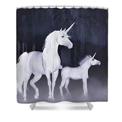 Shower Curtain featuring the painting Unicorns In The Mist by Valerie Anne Kelly