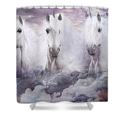 Unicorns Of The Mountains Shower Curtain