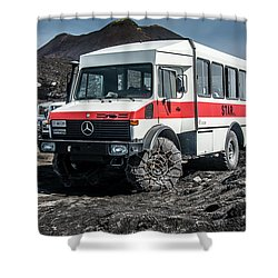 Unimog On Mt. Etna Shower Curtain