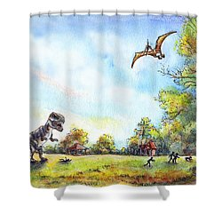 Shower Curtain featuring the painting Uninvited Picnic Guests by Retta Stephenson