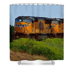 Shower Curtain featuring the digital art Union Pacific Line by Shelli Fitzpatrick