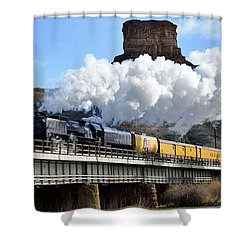 Union Pacific Steam Engine 844 And Castle Rock Shower Curtain