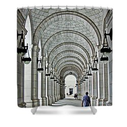 Shower Curtain featuring the photograph Union Station Exterior Archway by Suzanne Stout