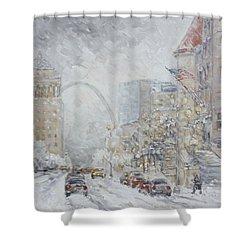 Union Station, St.louis - Winter Storm Shower Curtain