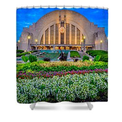 Union Terminal At Sunrise Shower Curtain by Keith Allen