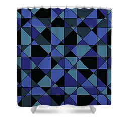 Shower Curtain featuring the digital art Unique Bold Hip Blue Cyan Grey Black Geometric Pattern by Shelley Neff