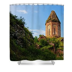 Unique Kirants Monastery On A Sunny Day, Armenia Shower Curtain by Gurgen Bakhshetsyan