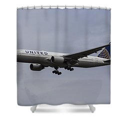 United Airlines Boeing 777 Shower Curtain