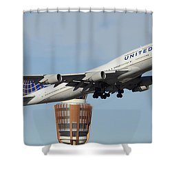United Boeing 747-422 N128ua Phoenix Sky Harbor January 2 2015 Shower Curtain by Brian Lockett