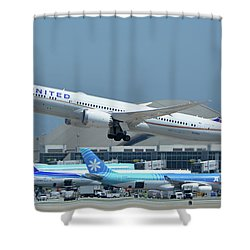 United Boeing 787-9 N27965 Los Angeles International Airport May 3 2016 Shower Curtain by Brian Lockett