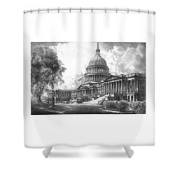 United States Capitol Building Shower Curtain by War Is Hell Store