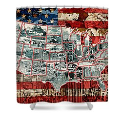United States Drawing Collage Map 6 Shower Curtain
