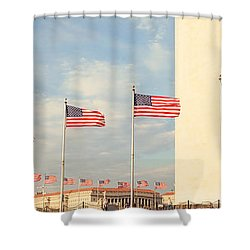 United States Flags At The Base Shower Curtain by Panoramic Images
