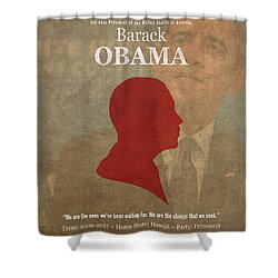 United States Of America President Barack Obama Facts Portrait And Quote Poster Series Number 44 Shower Curtain by Design Turnpike