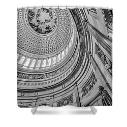 Shower Curtain featuring the photograph Unites States Capitol Rotunda Bw by Susan Candelario