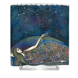 Shower Curtain featuring the mixed media Universal Magic by Prerna Poojara