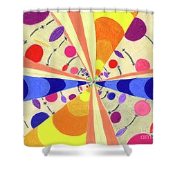 Shower Curtain featuring the drawing Universals by Kim Sy Ok