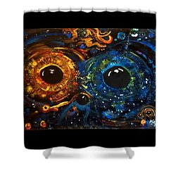 Shower Curtain featuring the painting Universe Watching by Michelle Audas