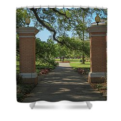 Shower Curtain featuring the photograph University And Johnston Entrance by Gregory Daley  PPSA