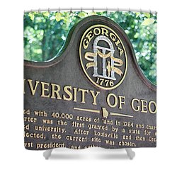 Shower Curtain featuring the photograph University Of Georgia Sign by Parker Cunningham