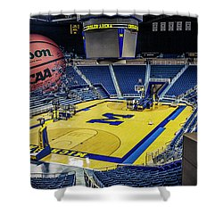 Shower Curtain featuring the digital art University Of Michigan Basketball by Nicholas Grunas